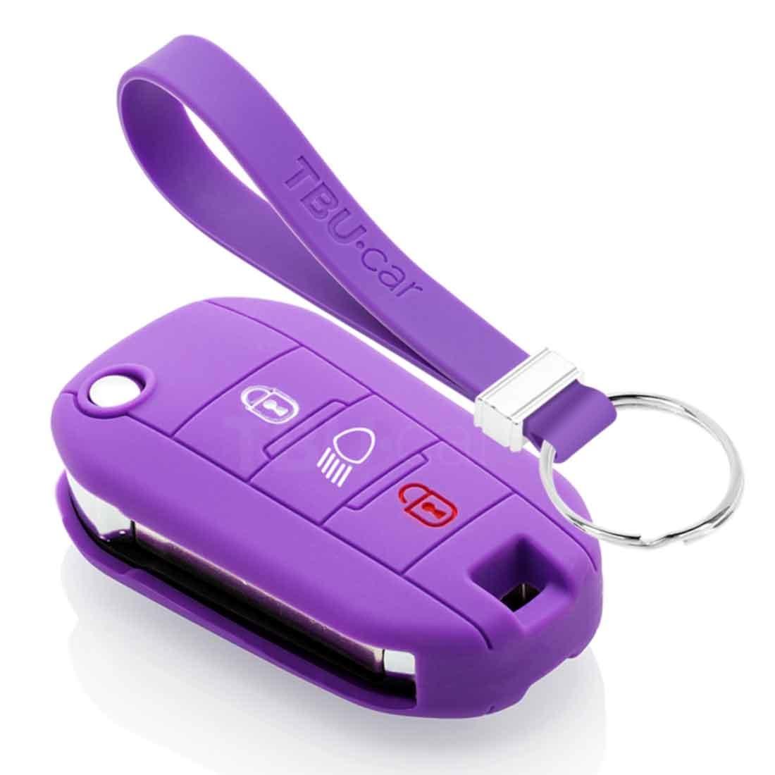 TBU car TBU car Autoschlüssel Hülle kompatibel mit Peugeot 3 Tasten (Licht Taste) - Schutzhülle aus Silikon - Auto Schlüsselhülle Cover in Violett