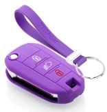 TBU car TBU car Autoschlüssel Hülle kompatibel mit Citroën 3 Tasten (Licht Taste) - Schutzhülle aus Silikon - Auto Schlüsselhülle Cover in Violett