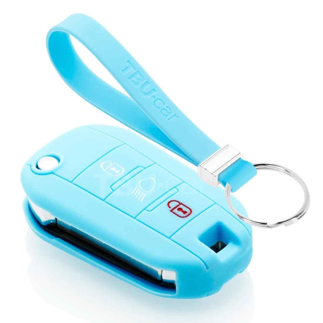TBU car TBU car Autoschlüssel Hülle kompatibel mit Citroën 3 Tasten (Licht Taste) - Schutzhülle aus Silikon - Auto Schlüsselhülle Cover in Hellblau