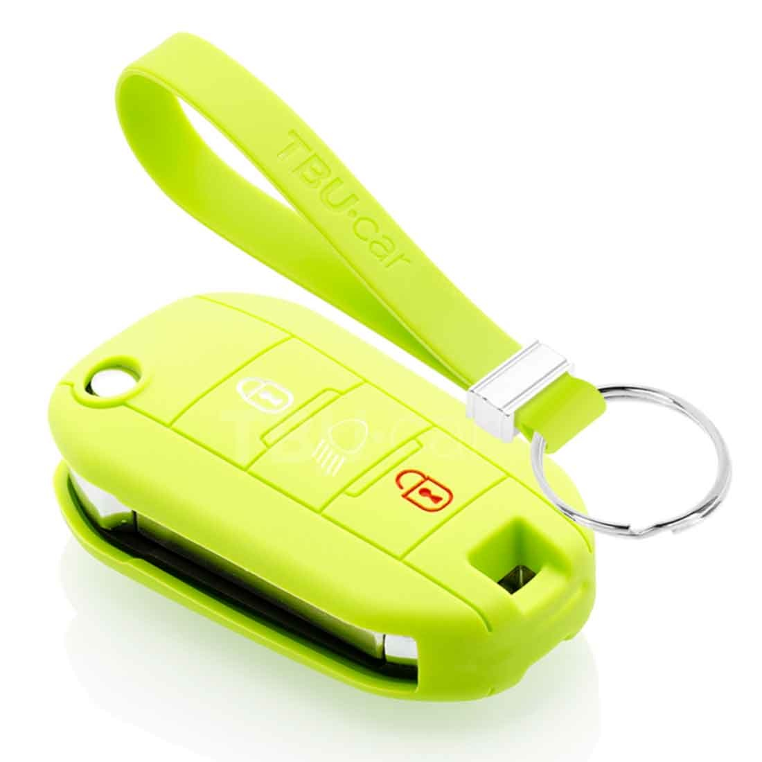 TBU car TBU car Autoschlüssel Hülle kompatibel mit Peugeot 3 Tasten (Licht Taste) - Schutzhülle aus Silikon - Auto Schlüsselhülle Cover in Lindgrün