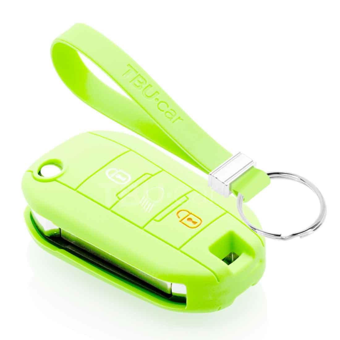 TBU car TBU car Autoschlüssel Hülle kompatibel mit Citroën 3 Tasten (Licht Taste) - Schutzhülle aus Silikon - Auto Schlüsselhülle Cover in Im Dunkeln leuchten