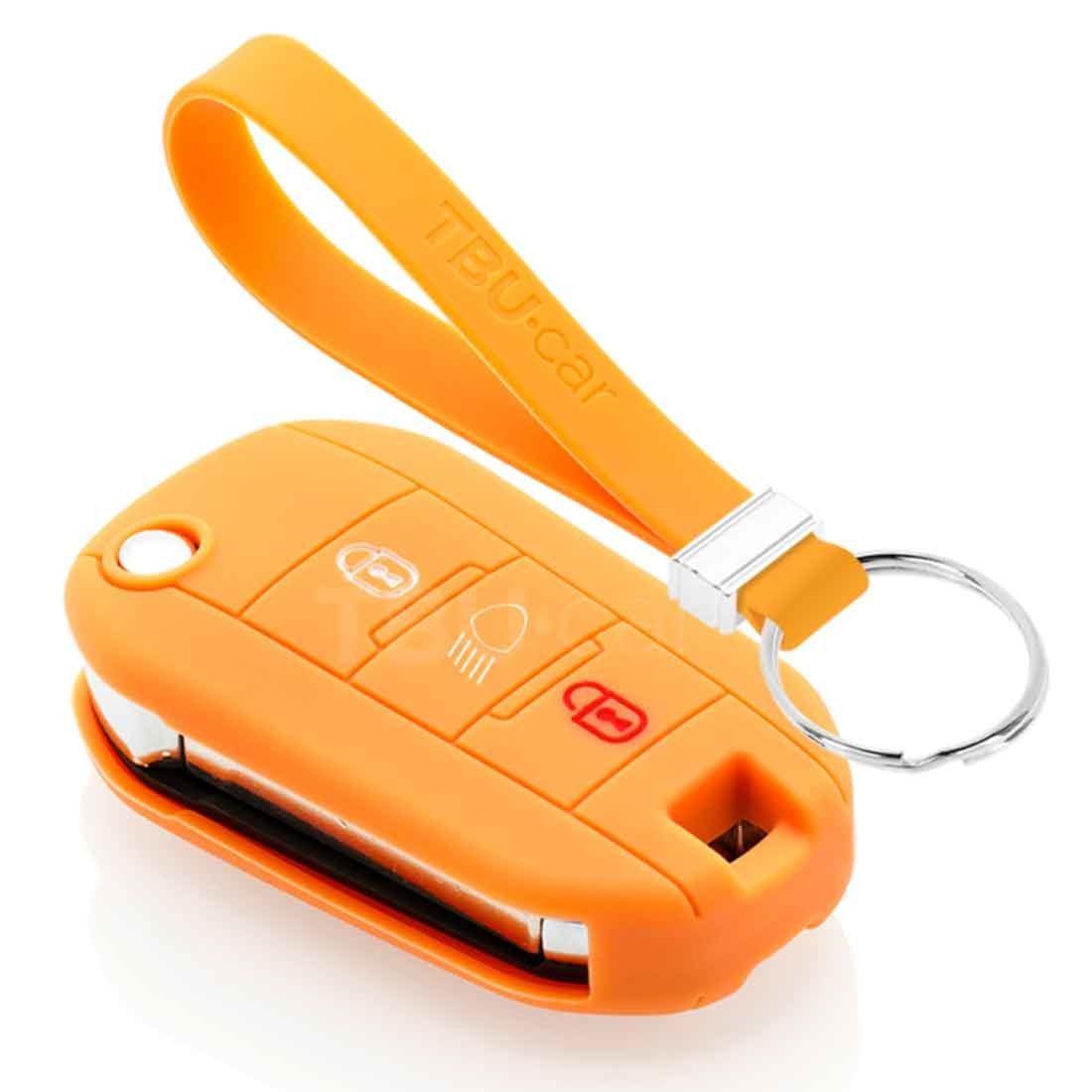 TBU car TBU car Autoschlüssel Hülle kompatibel mit Peugeot 3 Tasten (Licht Taste) - Schutzhülle aus Silikon - Auto Schlüsselhülle Cover in Orange