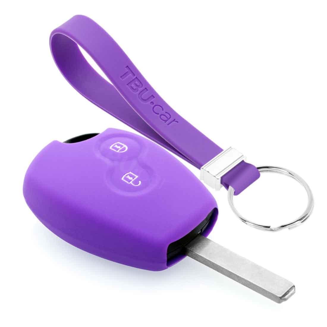 TBU car TBU car Autoschlüssel Hülle kompatibel mit Dacia 2 Tasten - Schutzhülle aus Silikon - Auto Schlüsselhülle Cover in Violett