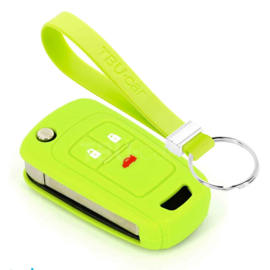 TBU car TBU car Car key cover compatible with Chevrolet - Silicone Protective Remote Key Shell - FOB Case Cover - Lime green