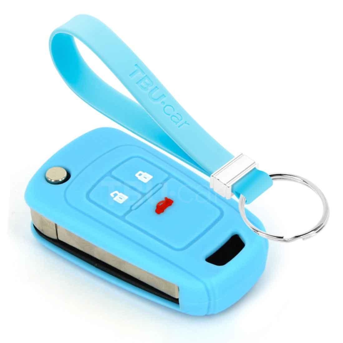 TBU car TBU car Autoschlüssel Hülle kompatibel mit Chevrolet 3 Tasten - Schutzhülle aus Silikon - Auto Schlüsselhülle Cover in Hellblau