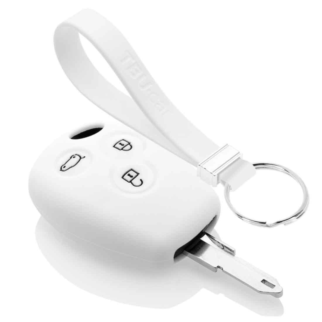 TBU car TBU car Autoschlüssel Hülle kompatibel mit Dacia 3 Tasten - Schutzhülle aus Silikon - Auto Schlüsselhülle Cover in Weiß