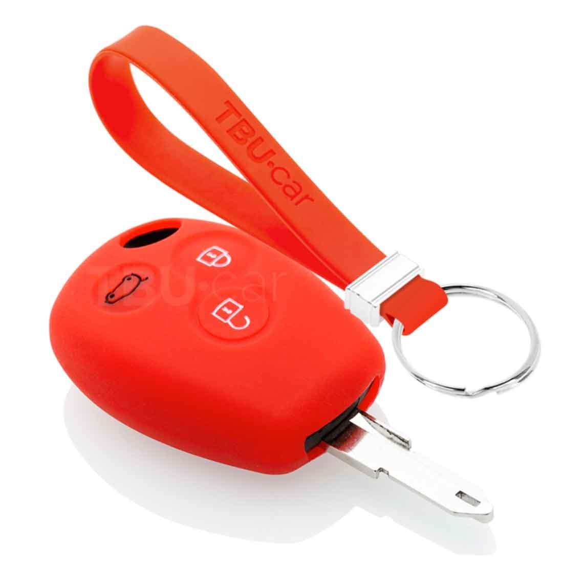 TBU car TBU car Autoschlüssel Hülle kompatibel mit Dacia 3 Tasten - Schutzhülle aus Silikon - Auto Schlüsselhülle Cover in Rott