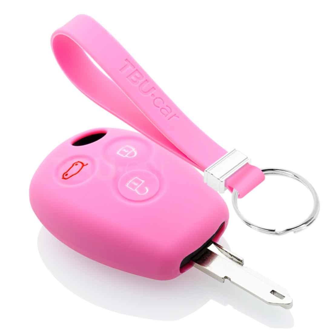 TBU car TBU car Autoschlüssel Hülle kompatibel mit Dacia 3 Tasten - Schutzhülle aus Silikon - Auto Schlüsselhülle Cover in Rosa