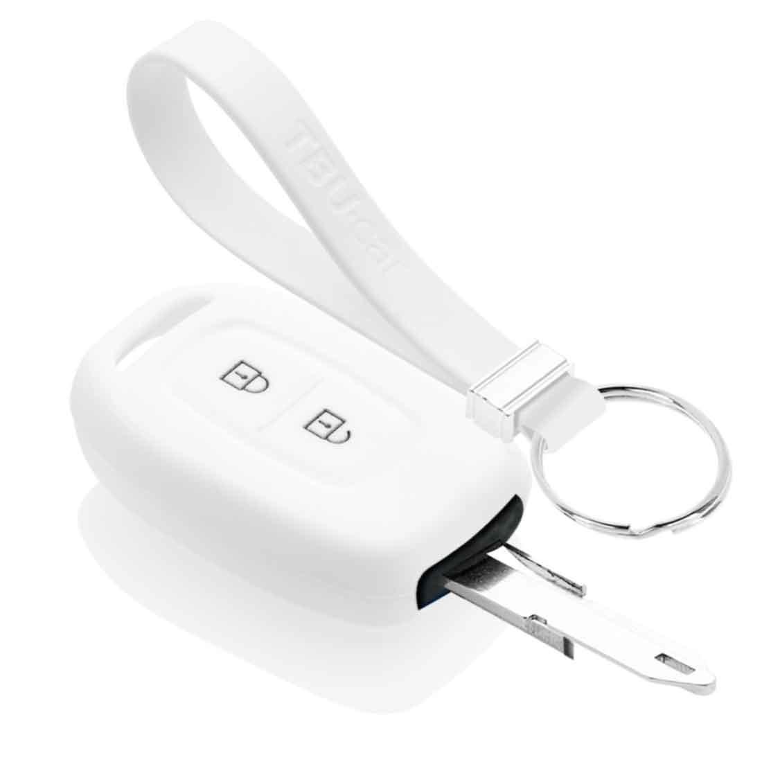 TBU car TBU car Autoschlüssel Hülle kompatibel mit Dacia 2 Tasten - Schutzhülle aus Silikon - Auto Schlüsselhülle Cover in Weiß