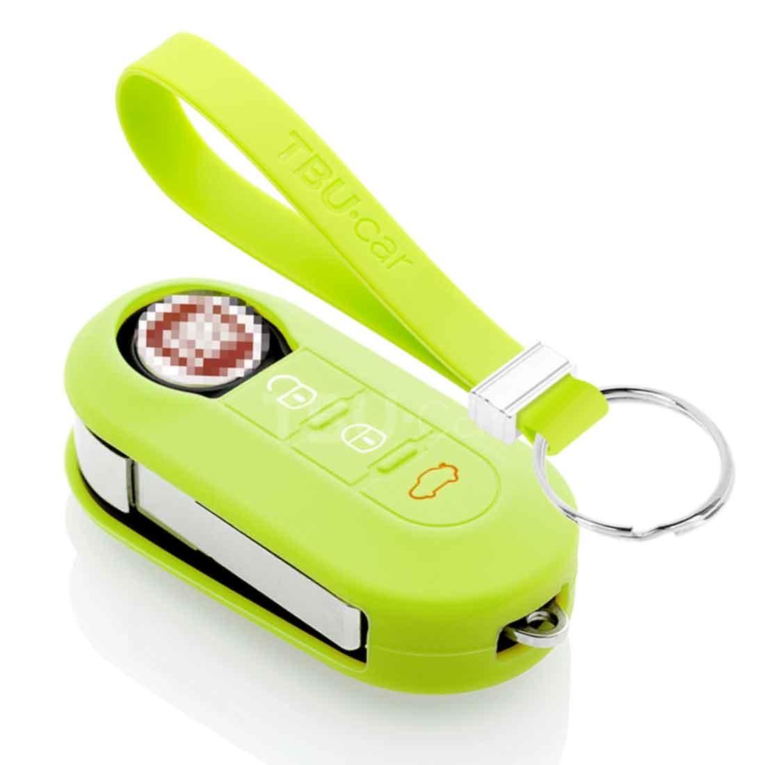 TBU car TBU car Sleutel cover compatibel met Fiat - Silicone sleutelhoesje - beschermhoesje autosleutel - Lime groen green