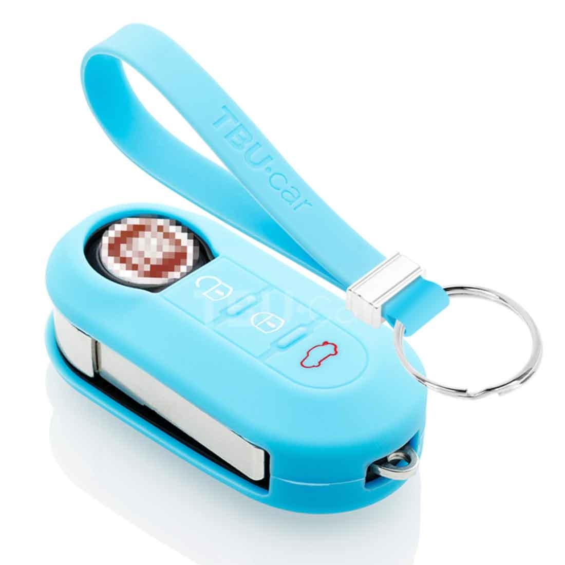 TBU car TBU car Autoschlüssel Hülle kompatibel mit Fiat 3 Tasten - Schutzhülle aus Silikon - Auto Schlüsselhülle Cover in Hellblau