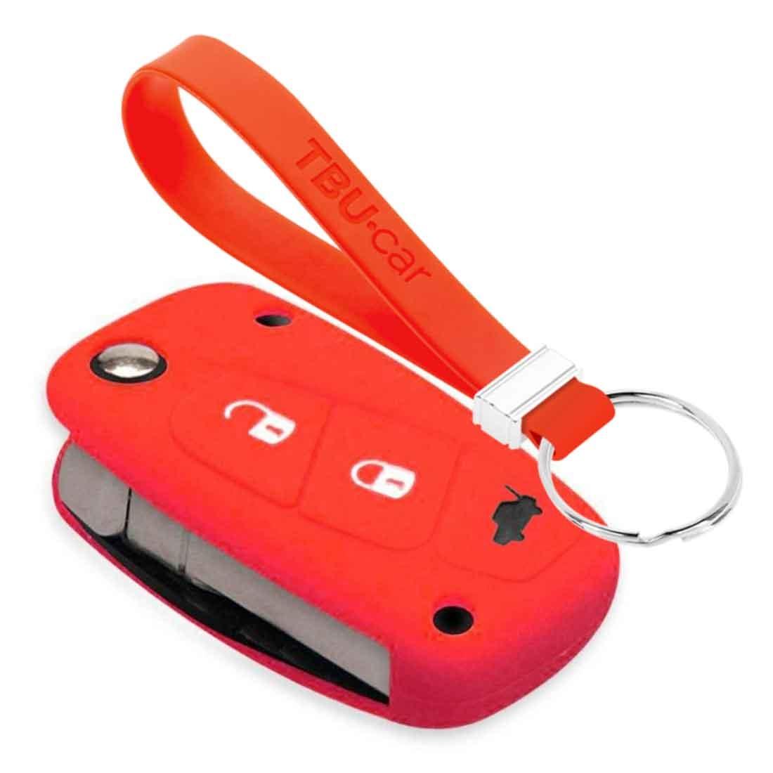 TBU car TBU car Funda Carcasa llave compatible con Fiat - Funda de Silicona - Cover de Llave Coche - Rojo