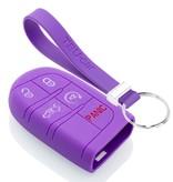 TBU car TBU car Sleutel cover compatibel met Jeep - Silicone sleutelhoesje - beschermhoesje autosleutel - Paars