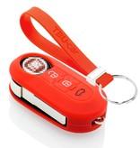 TBU car TBU car Sleutel cover compatibel met Lancia - Silicone sleutelhoesje - beschermhoesje autosleutel - Rood