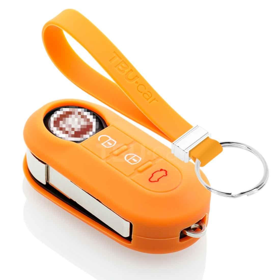 TBU car TBU car Sleutel cover compatibel met Lancia - Silicone sleutelhoesje - beschermhoesje autosleutel - Oranje