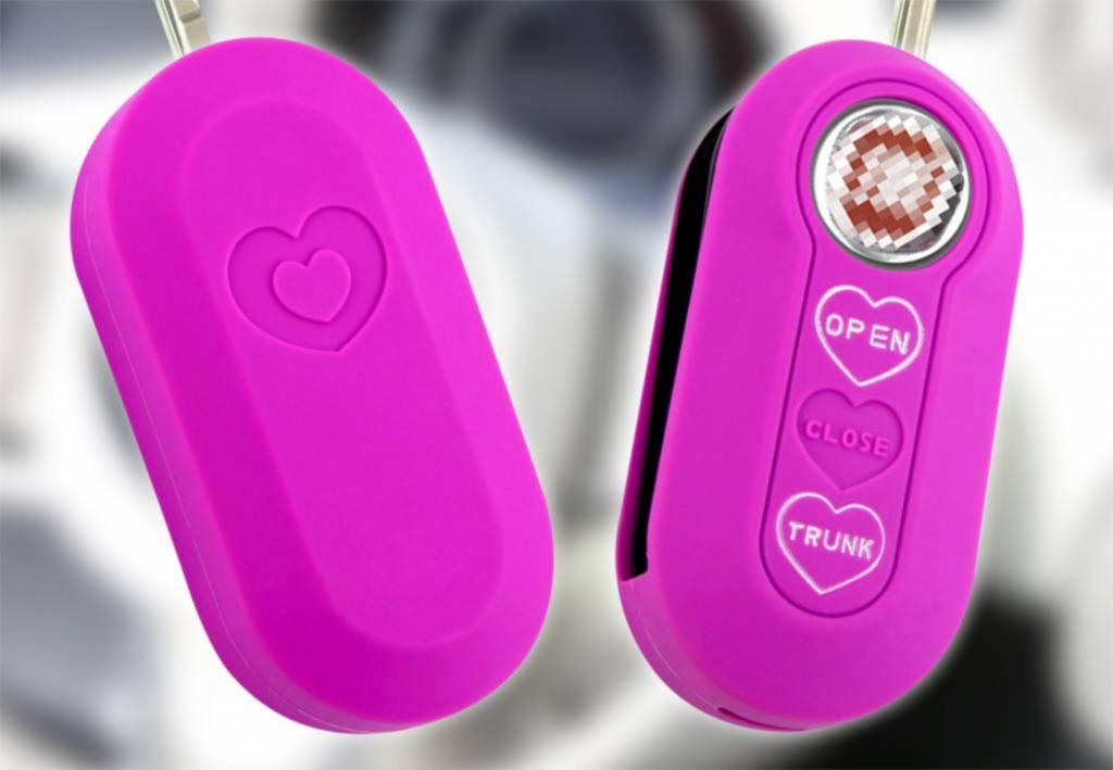TBU car TBU car Sleutel cover compatibel met Lancia - Silicone sleutelhoesje - beschermhoesje autosleutel - Neon Roze (Hartjes)