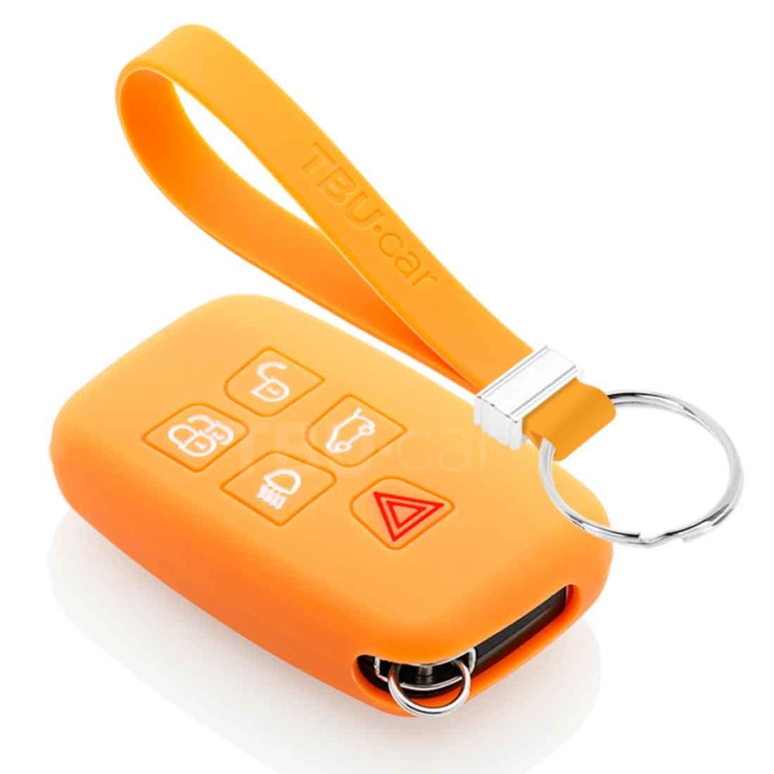 TBU car TBU car Autoschlüssel Hülle kompatibel mit Land Rover 5 Tasten (Keyless Entry) - Schutzhülle aus Silikon - Auto Schlüsselhülle Cover in Orange