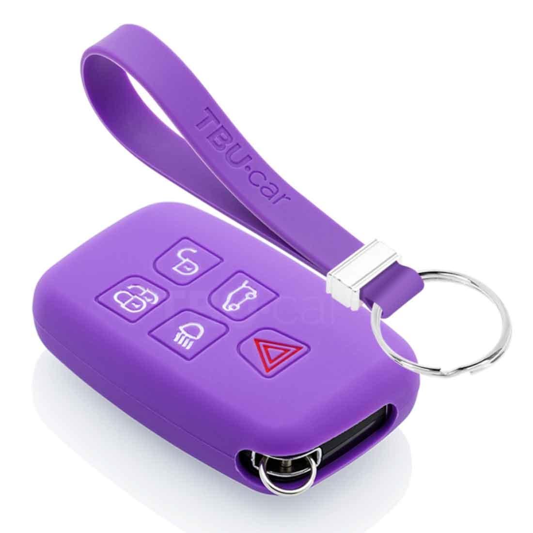 TBU car TBU car Autoschlüssel Hülle kompatibel mit Land Rover 5 Tasten (Keyless Entry) - Schutzhülle aus Silikon - Auto Schlüsselhülle Cover in Violett