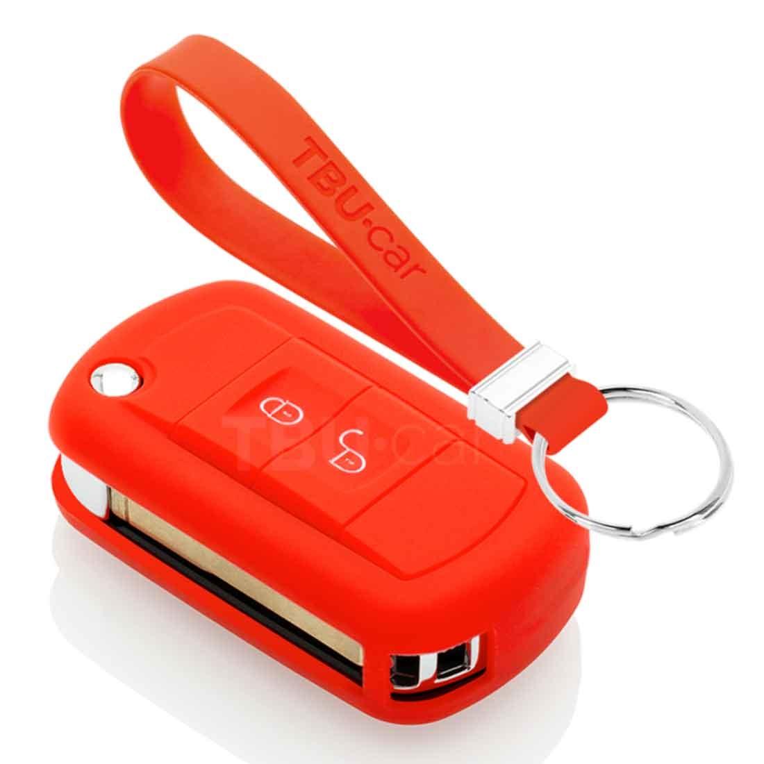 TBU car TBU car Autoschlüssel Hülle kompatibel mit Land Rover 2 Tasten - Schutzhülle aus Silikon - Auto Schlüsselhülle Cover in Rot