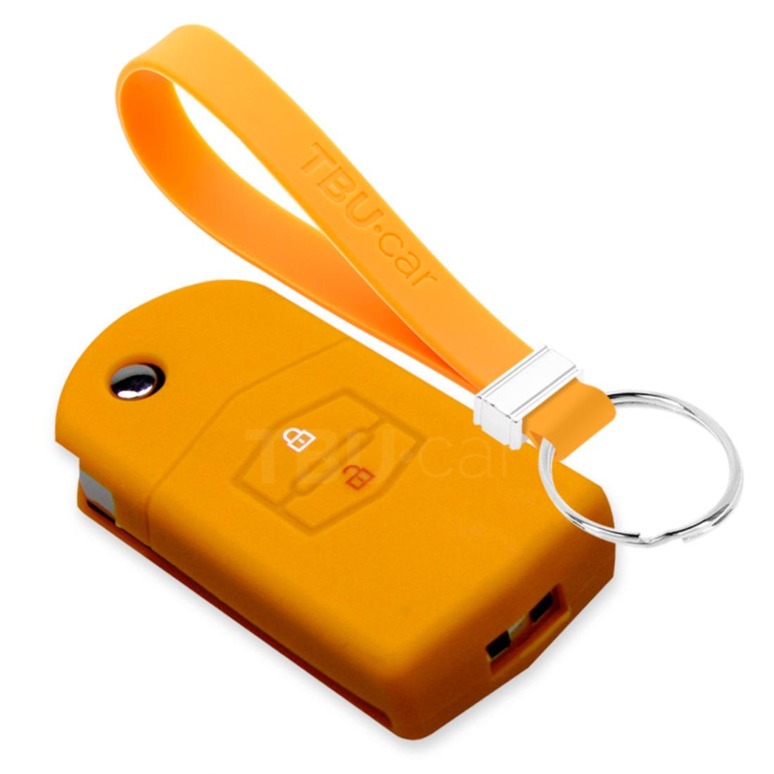 TBU car TBU car Autoschlüssel Hülle kompatibel mit Mazda 2 Tasten - Schutzhülle aus Silikon - Auto Schlüsselhülle Cover in Orange