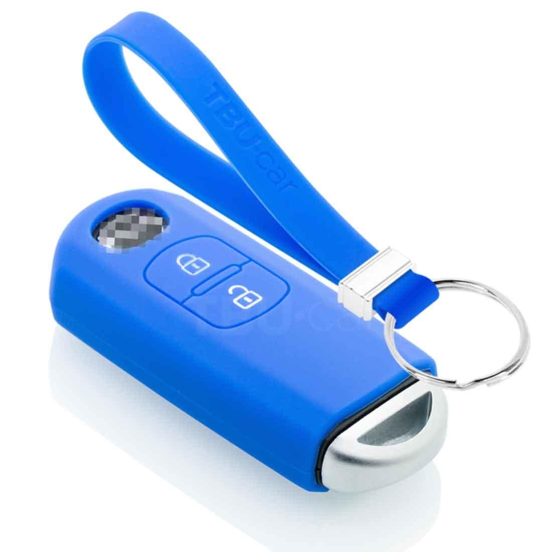 TBU car TBU car Autoschlüssel Hülle kompatibel mit Mazda 2 Tasten (Keyless Entry) - Schutzhülle aus Silikon - Auto Schlüsselhülle Cover in Blau
