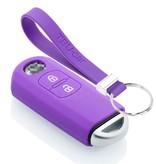 TBU car TBU car Autoschlüssel Hülle kompatibel mit Mazda 2 Tasten (Keyless Entry) - Schutzhülle aus Silikon - Auto Schlüsselhülle Cover in Violett