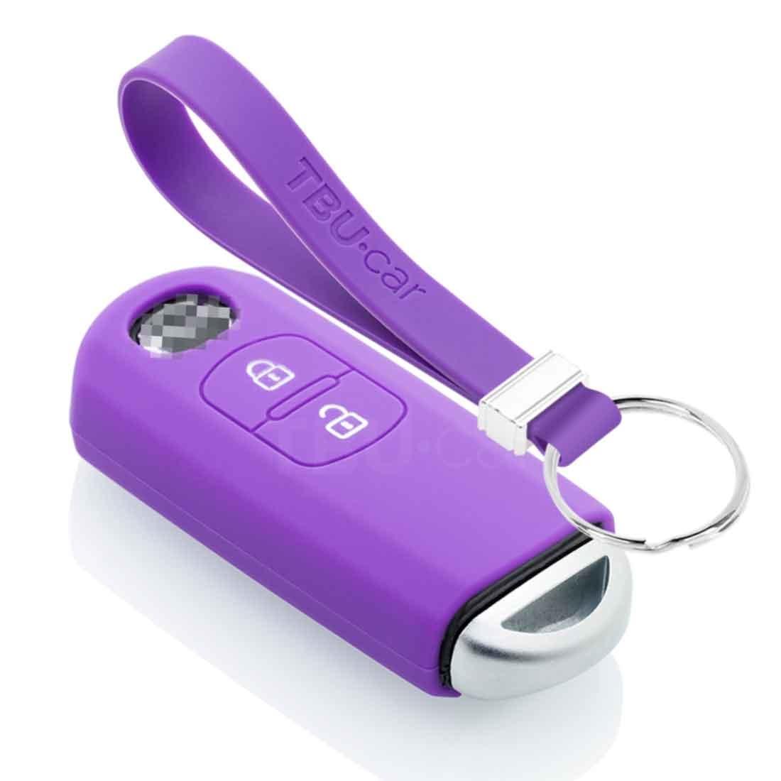 TBU car TBU car Sleutel cover compatibel met Mazda - Silicone sleutelhoesje - beschermhoesje autosleutel - Paars