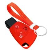 TBU car TBU car Autoschlüssel Hülle kompatibel mit Mercedes 3 Tasten - Schutzhülle aus Silikon - Auto Schlüsselhülle Cover in Rot