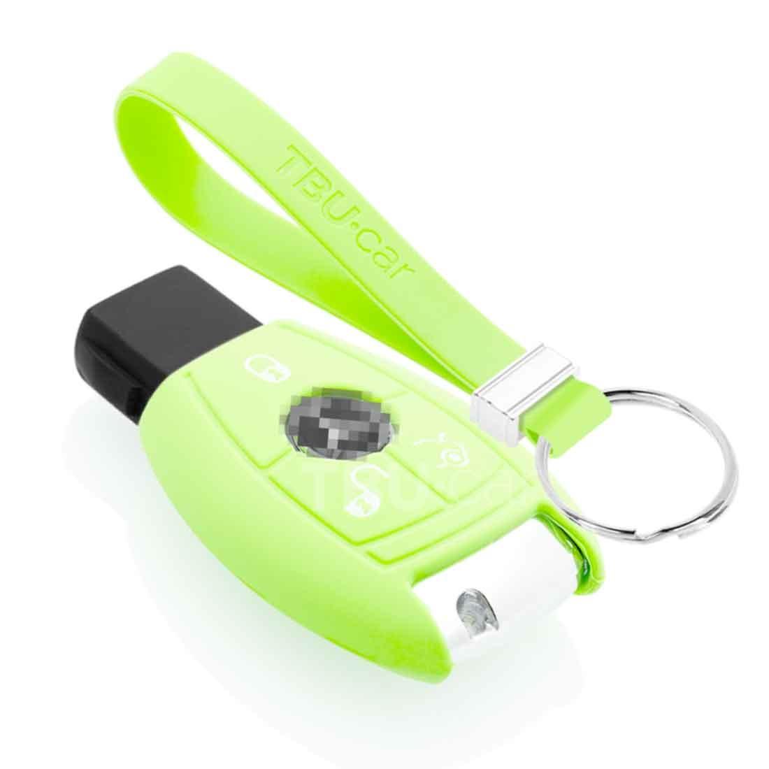 TBU car TBU car Autoschlüssel Hülle kompatibel mit Mercedes 3 Tasten - Schutzhülle aus Silikon - Auto Schlüsselhülle Cover in Im Dunkeln leuchten