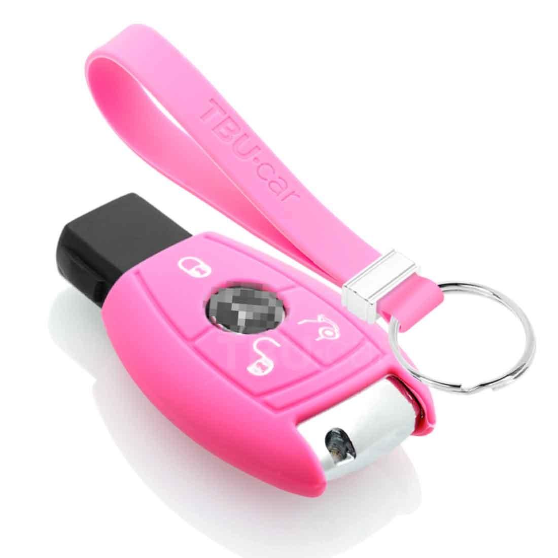 TBU car TBU car Sleutel cover compatibel met Mercedes - Silicone sleutelhoesje - beschermhoesje autosleutel - Roze