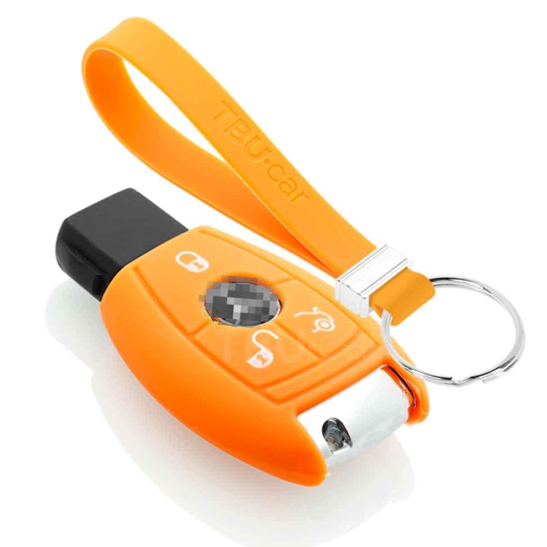 TBU car TBU car Autoschlüssel Hülle kompatibel mit Mercedes 3 Tasten - Schutzhülle aus Silikon - Auto Schlüsselhülle Cover in Orange