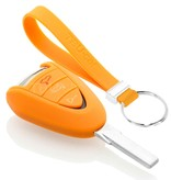 TBU car TBU car Autoschlüssel Hülle kompatibel mit Porsche 3 Tasten - Schutzhülle aus Silikon - Auto Schlüsselhülle Cover in Orange