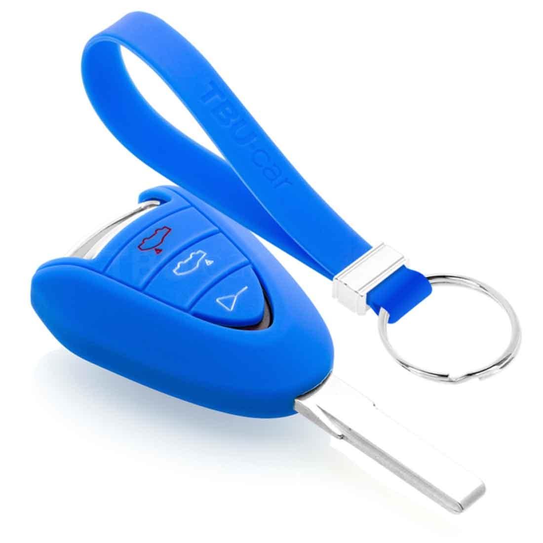 TBU car TBU car Autoschlüssel Hülle kompatibel mit Porsche 3 Tasten - Schutzhülle aus Silikon - Auto Schlüsselhülle Cover in Blau