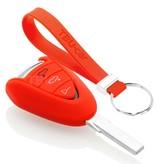 TBU car TBU car Autoschlüssel Hülle kompatibel mit Porsche 3 Tasten - Schutzhülle aus Silikon - Auto Schlüsselhülle Cover in Rot