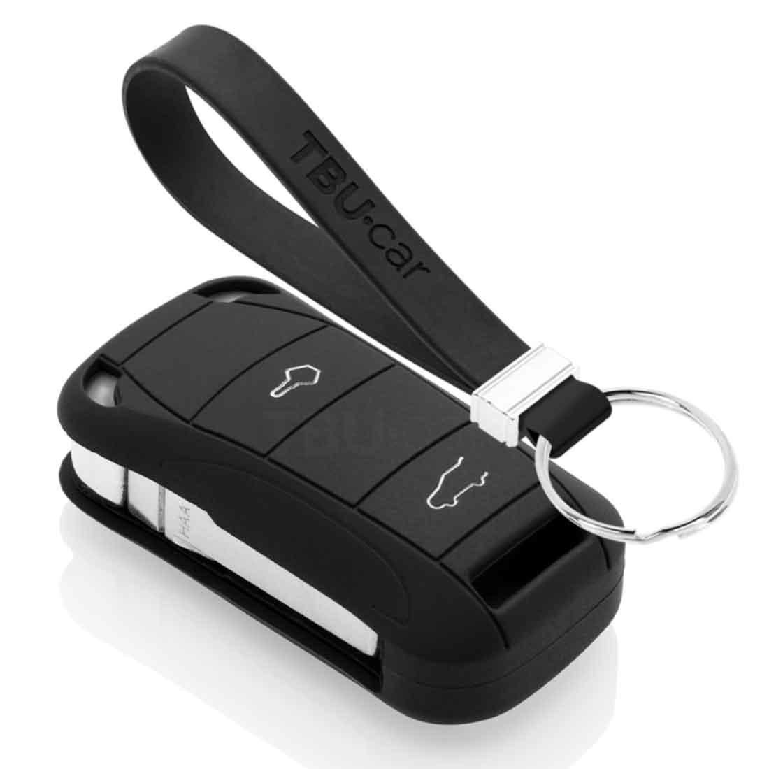 TBU car TBU car Autoschlüssel Hülle kompatibel mit Porsche 2 Tasten - Schutzhülle aus Silikon - Auto Schlüsselhülle Cover in Schwarz