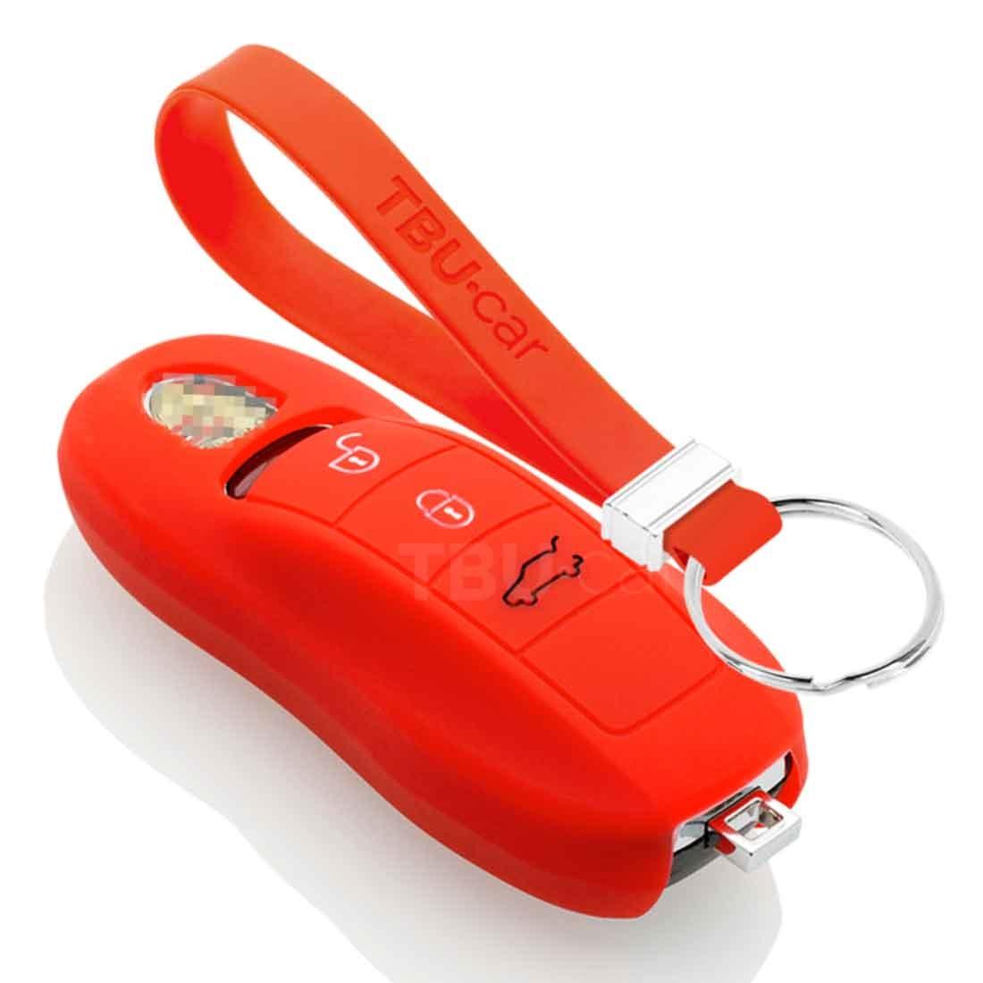 TBU car TBU car Sleutel cover compatibel met Porsche - Silicone sleutelhoesje - beschermhoesje autosleutel - Rood
