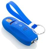 TBU car TBU car Autoschlüssel Hülle kompatibel mit Porsche 3 Tasten (Keyless Entry) - Schutzhülle aus Silikon - Auto Schlüsselhülle Cover in Blau