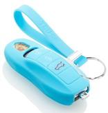 TBU car TBU car Autoschlüssel Hülle kompatibel mit Porsche 3 Tasten (Keyless Entry) - Schutzhülle aus Silikon - Auto Schlüsselhülle Cover in Hellblau