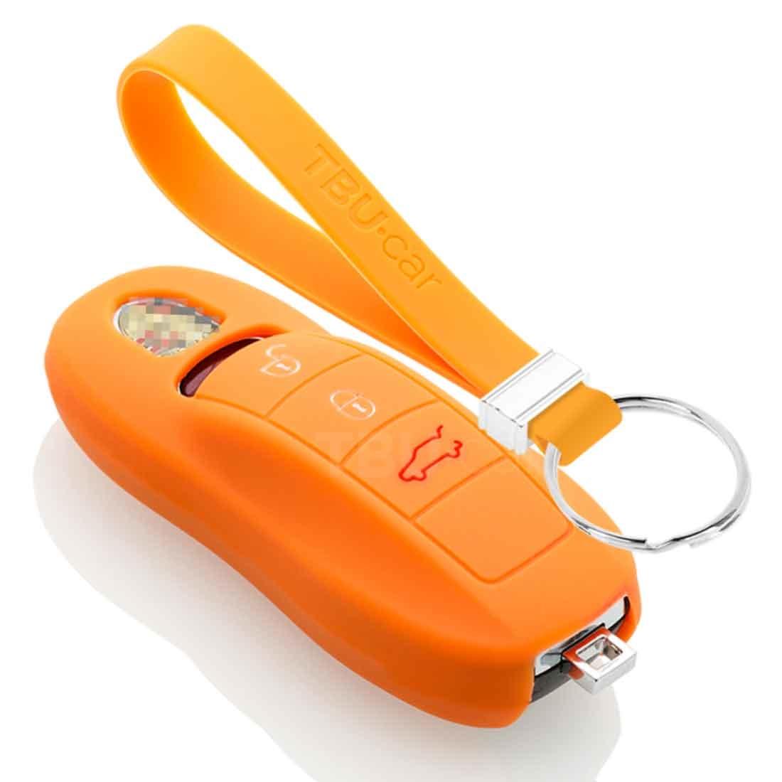 TBU car TBU car Autoschlüssel Hülle kompatibel mit Porsche 3 Tasten (Keyless Entry) - Schutzhülle aus Silikon - Auto Schlüsselhülle Cover in Orange