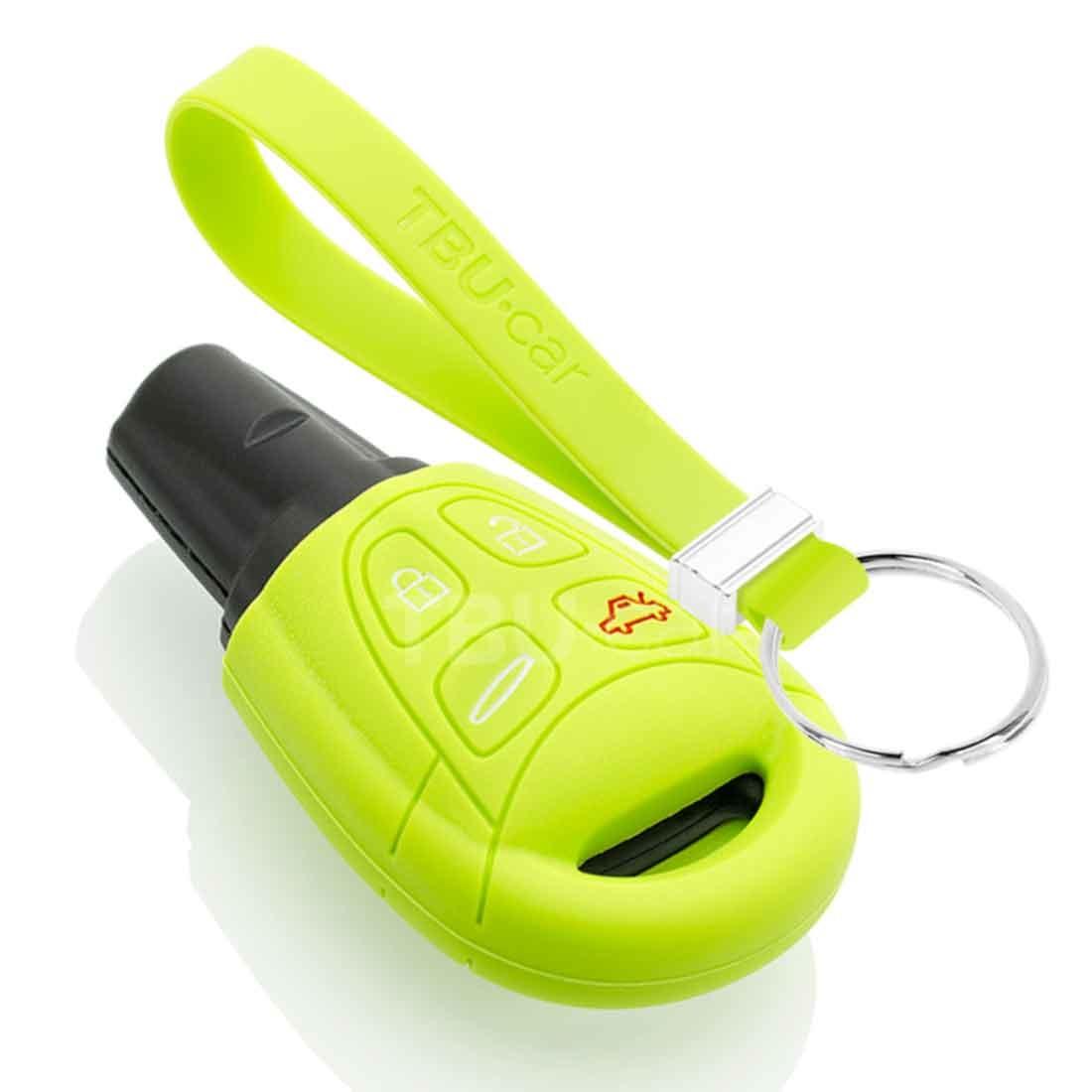TBU car TBU car Sleutel cover compatibel met Saab - Silicone sleutelhoesje - beschermhoesje autosleutel - Lime groen