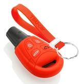 TBU car TBU car Autoschlüssel Hülle kompatibel mit Saab 4 Tasten - Schutzhülle aus Silikon - Auto Schlüsselhülle Cover in Rot