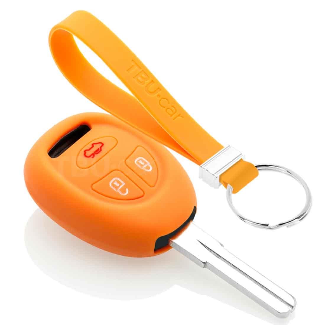 TBU car TBU car Autoschlüssel Hülle kompatibel mit Saab 3 Tasten - Schutzhülle aus Silikon - Auto Schlüsselhülle Cover in Orange