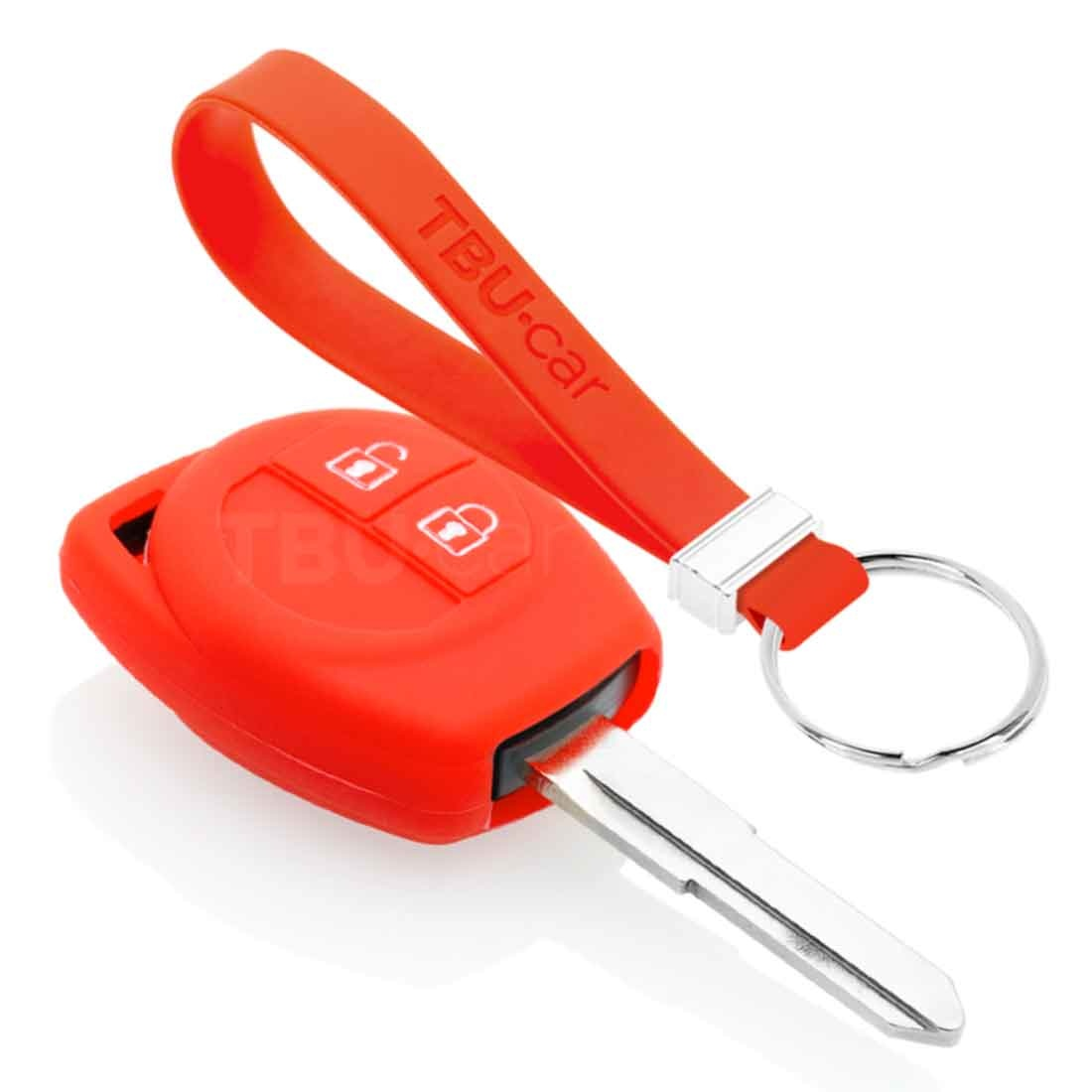 TBU car TBU car Sleutel cover compatibel met Suzuki - Silicone sleutelhoesje - beschermhoesje autosleutel - Rood