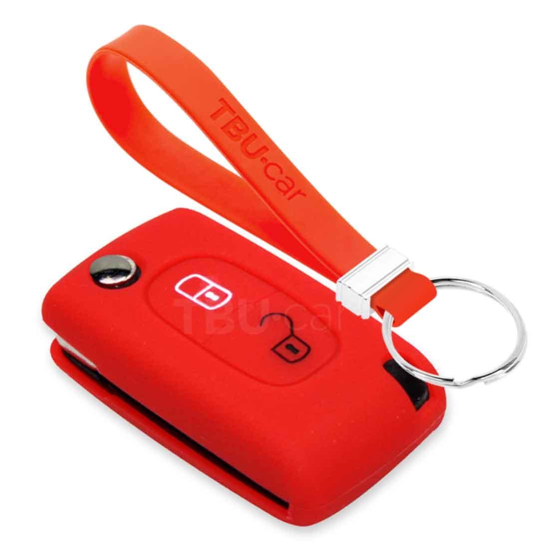 TBU car TBU car Autoschlüssel Hülle kompatibel mit Peugeot 2 Tasten - Schutzhülle aus Silikon - Auto Schlüsselhülle Cover in Rot