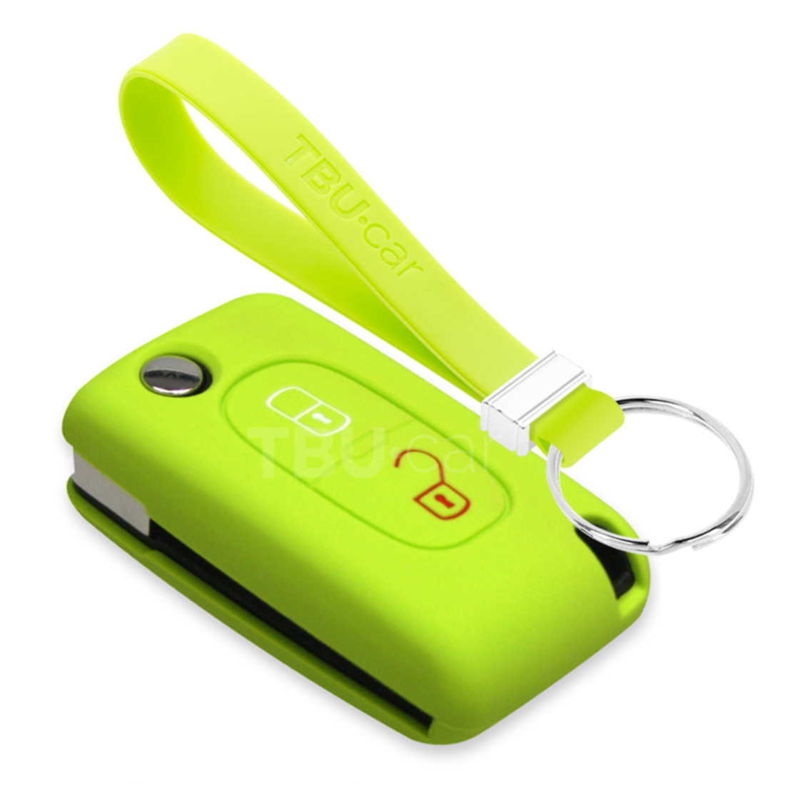 TBU car TBU car Autoschlüssel Hülle kompatibel mit Peugeot 2 Tasten - Schutzhülle aus Silikon - Auto Schlüsselhülle Cover in Lindgrün