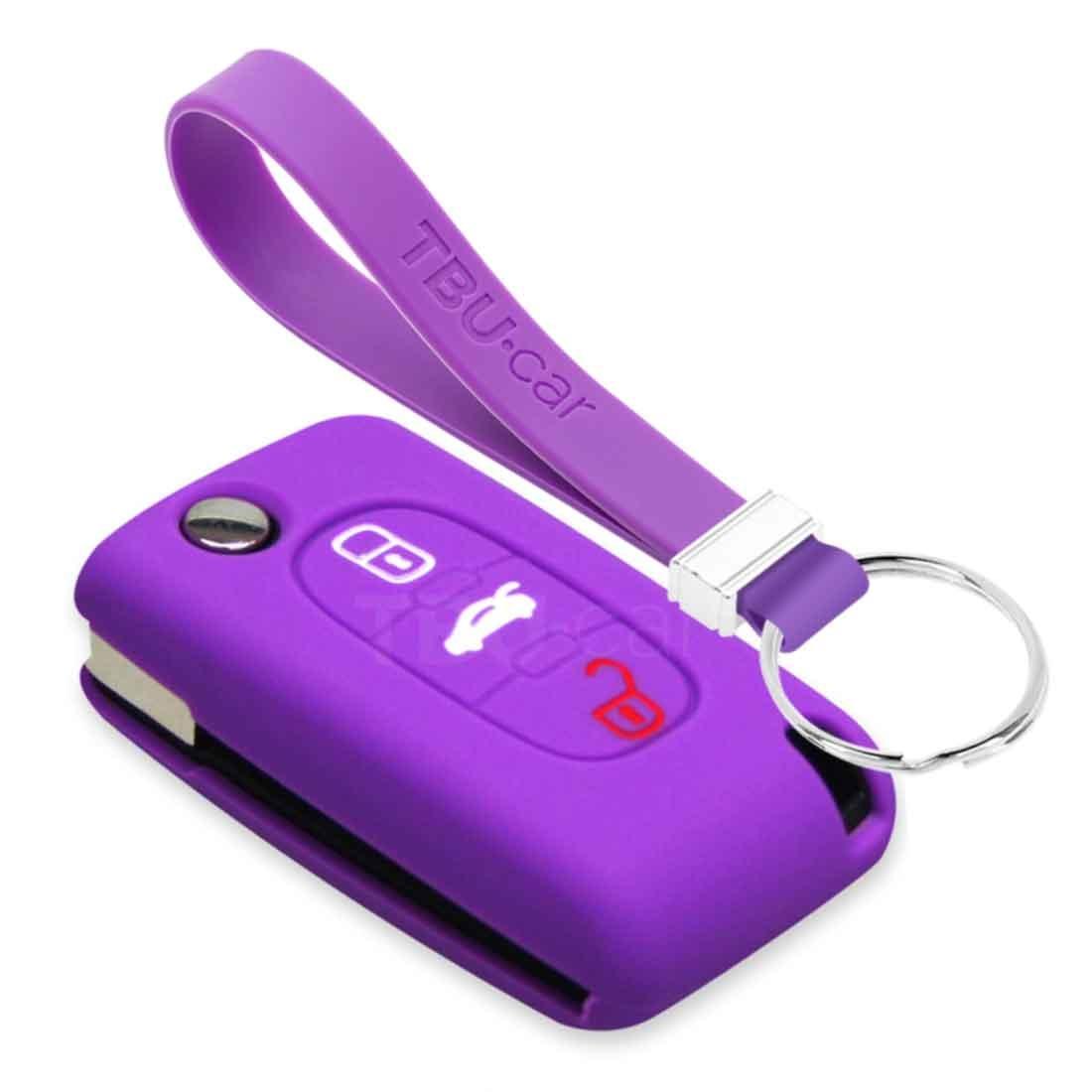 TBU car TBU car Autoschlüssel Hülle kompatibel mit Citroën 3 Tasten - Schutzhülle aus Silikon - Auto Schlüsselhülle Cover in Violett