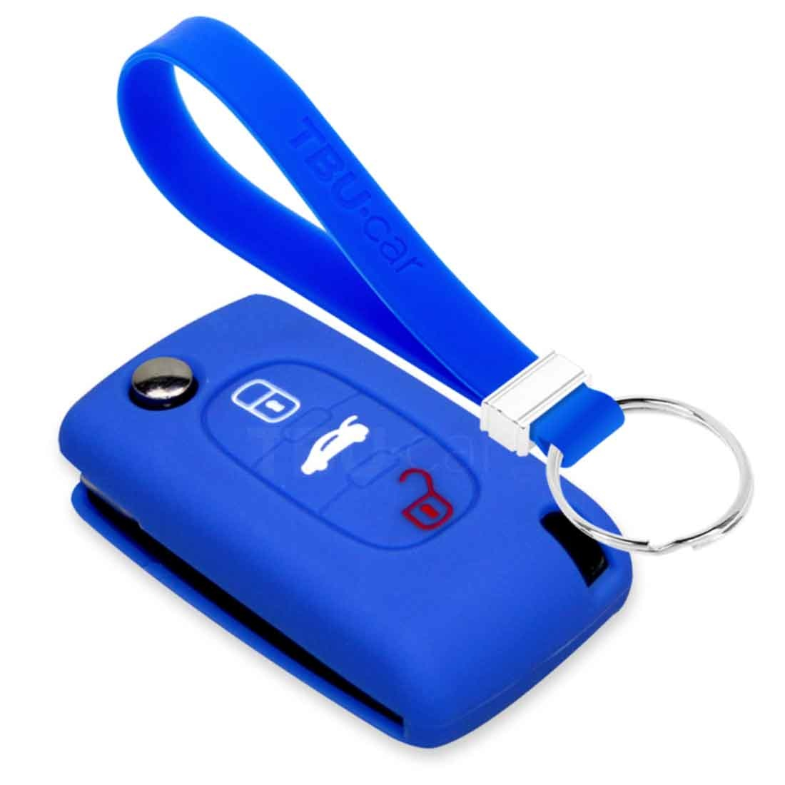 TBU car TBU car Car key cover compatible with Citroën - Silicone Protective Remote Key Shell - FOB Case Cover - Blue