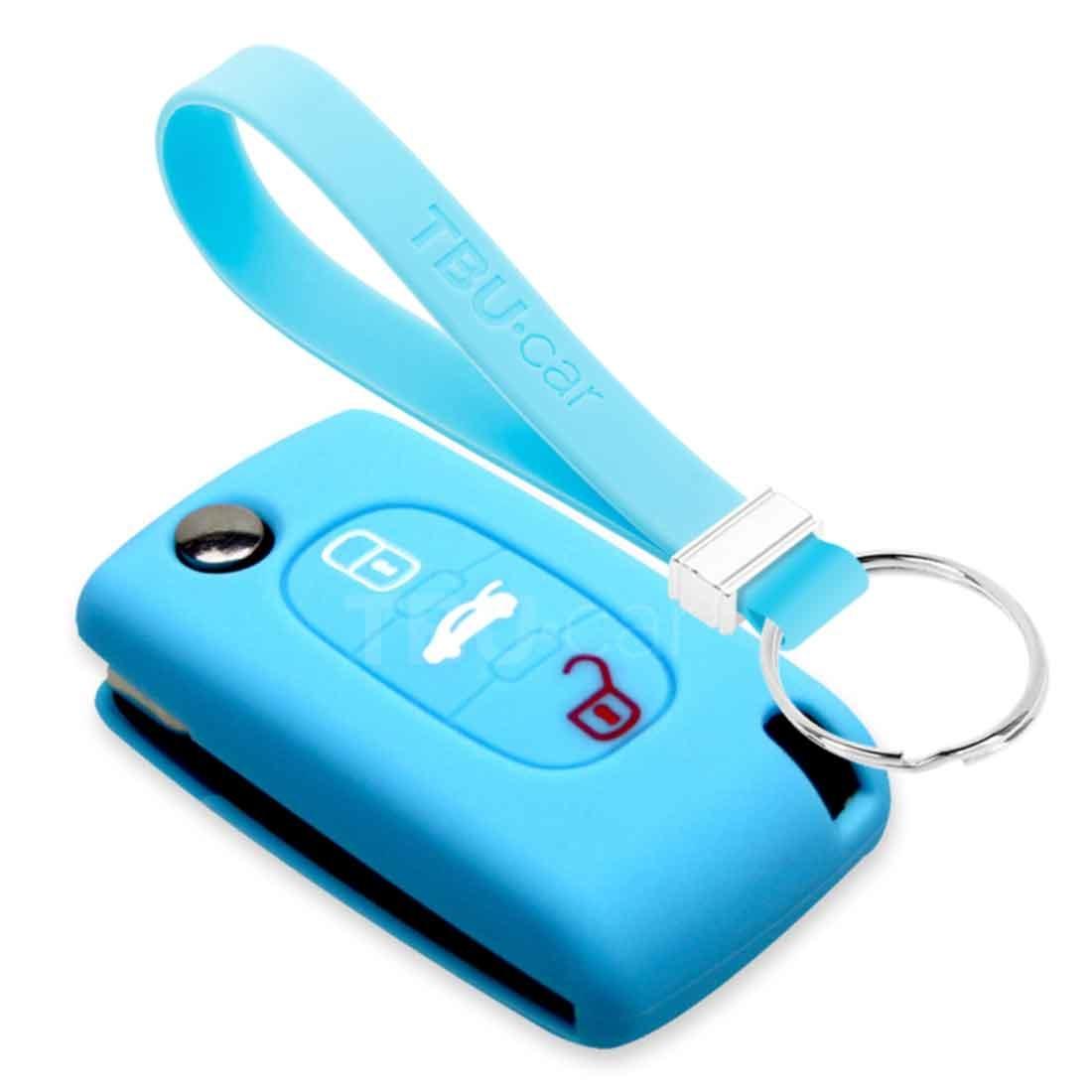 TBU car TBU car Funda Carcasa llave compatible con Fiat - Funda de Silicona - Cover de Llave Coche - Azul claro