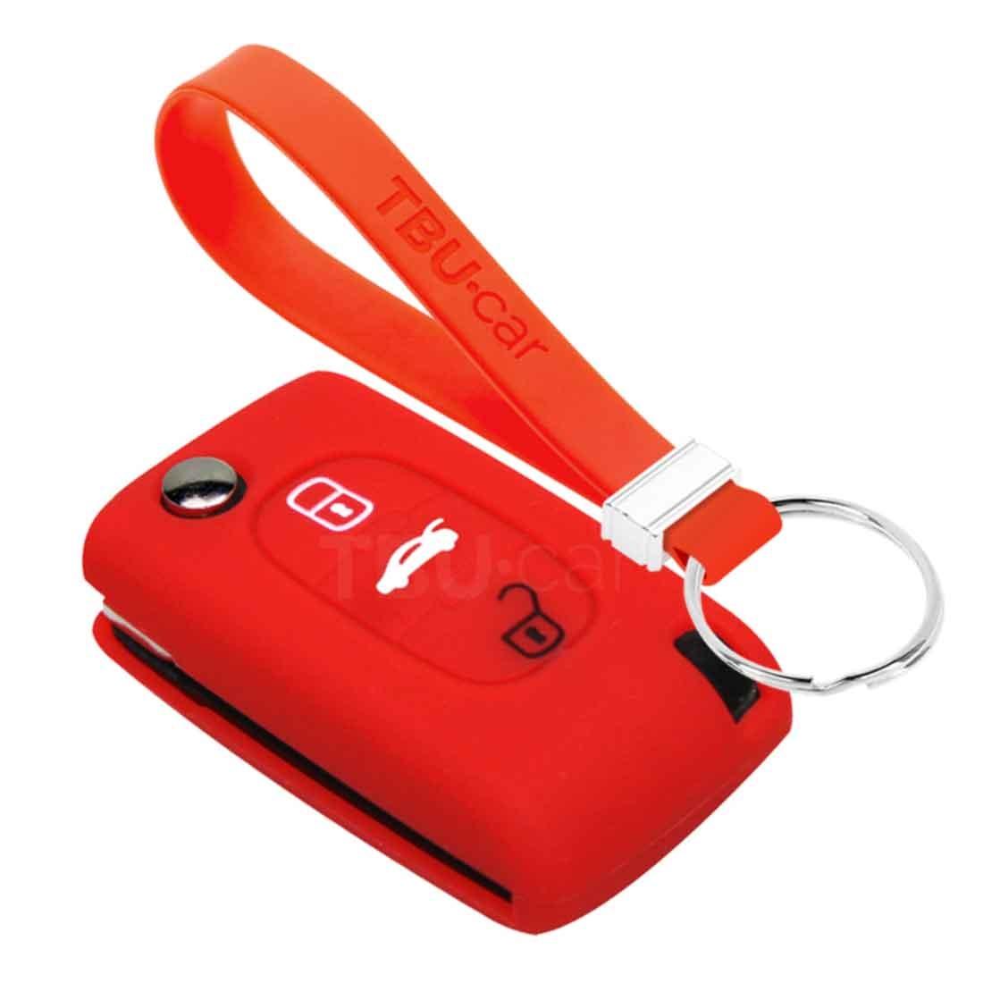 TBU car TBU car Autoschlüssel Hülle kompatibel mit Fiat 3 Tasten - Schutzhülle aus Silikon - Auto Schlüsselhülle Cover in Rot