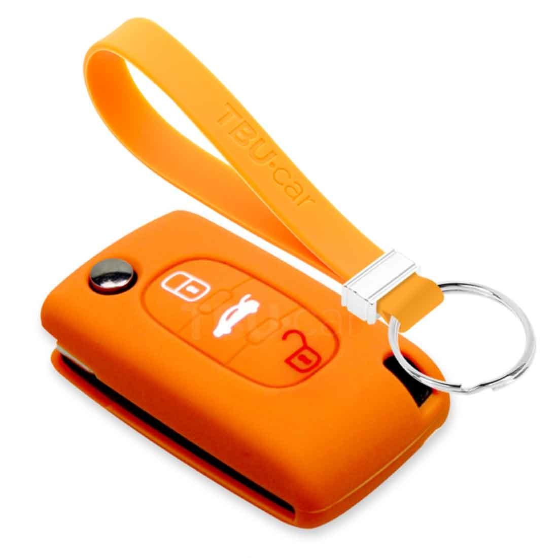TBU car TBU car Autoschlüssel Hülle kompatibel mit Peugeot 3 Tasten - Schutzhülle aus Silikon - Auto Schlüsselhülle Cover in Orange